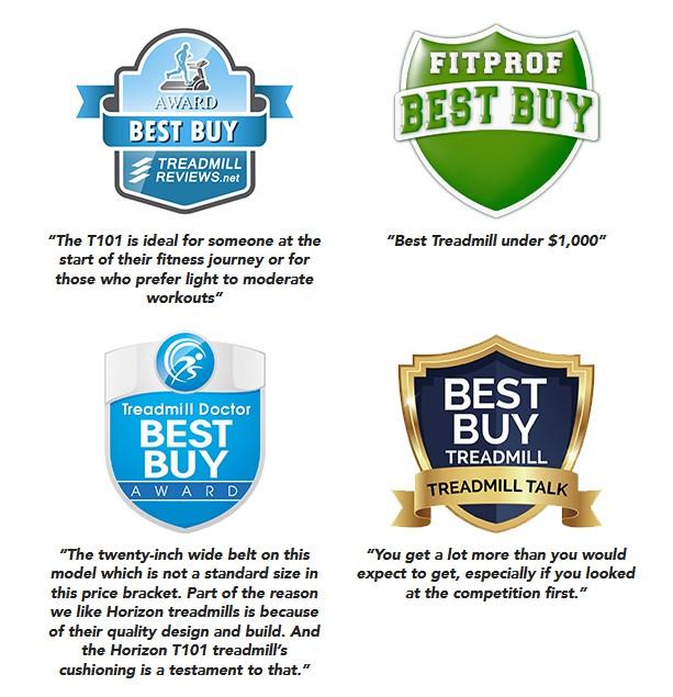 Horizon Fitness T101 treadmill awards